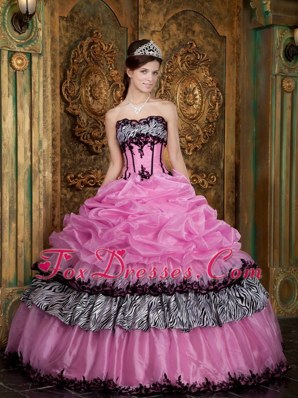 Cheap Rose Pink Strapless Picks-Up Quinceanera Dress
