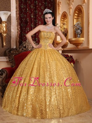 Cheap Gold Sweetheart Floor-length Beading Quinceanera Dress