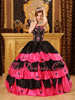 Cheap Black Red Strapless Beading Quinceanera Dress