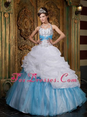 White Blue A-line Cheap Princess Beading Quinceanera Dress