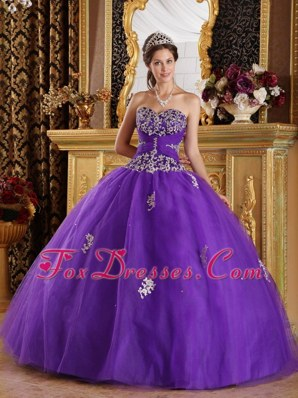 Beautiful Bright Purple Quinceanera Dress Zipper Back