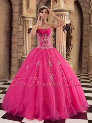 Cheap Hot Pink Quinceanera Sweet 16 Dress Organza Beading