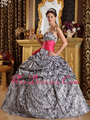 Zebra Print Quinceanera Dress with Hot Pink Sash On Sale