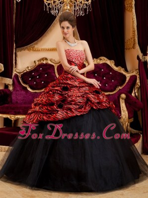 Red and Black Zebra Print Strapless Quinceanera Dress