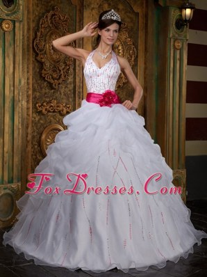 Halter White Organza Quinceanera Dress with Hot Pink Sash