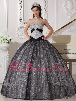 Low Price Black and Silver Sequined Quinceanera Dress