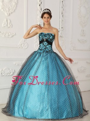 Elegant Black and Blue Strapless Quinceanera Dress