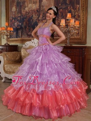 Cheap Lavender and Watermelon Pink Quinceanera Dress