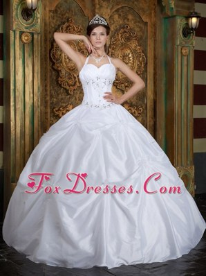 Cheap White Halter Quinceanera Dress with Silver Rhinestone