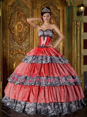 Zebra Print and Orange Red Sweetheart Tiered Quinceanera Dress
