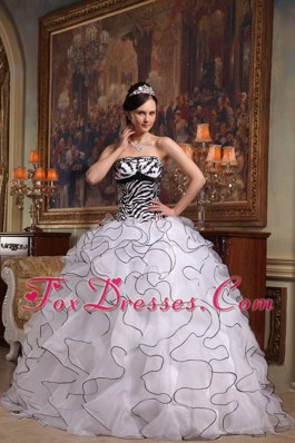 White and Black Zebra Print Ruffles Quinceanera Dress Beautiful