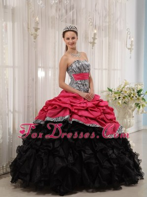 Brand New Red Black Cheap Sweetheart Quinceanera Dress