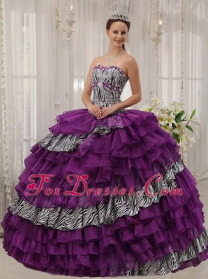 Purple Sweetheart Cheap Zebra Organza Quinceanera Dress