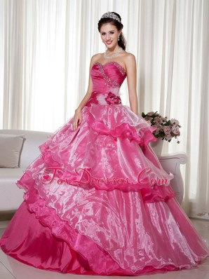 Beautiful Fuschia Layered Quinceanera Dress Cheap