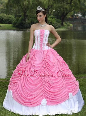 White and Pink Ball Gown Appliques Pick-ups Sweet 16 Quinceanera Dress