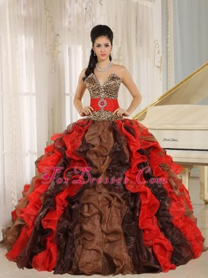 Leopard Print 3 Colored 2013 Ruffles Quinceanera Dress