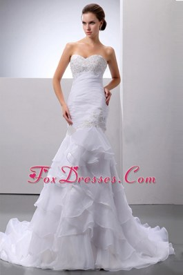 Mermaid Trumpet Beading and Ruffle Train Wedding Gown