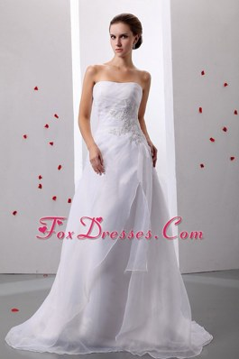 Appliques Princess Organza Strapless Wedding Dress