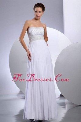 Cheap Beading Empire Chiffon Floor-length Wedding Dress