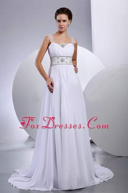 Beading Sweetheart Court Train Chiffon Wedding Dress