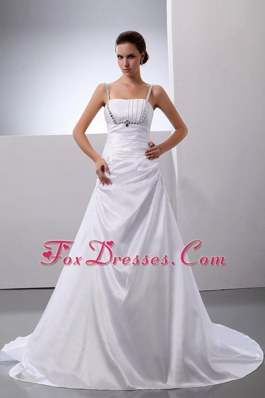 A-Line Straps Beading Cheap Court Train Wedding Dress