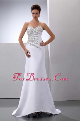 Cheap Beading Sweep Train Satin Column Wedding Gown