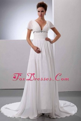Cheap Beading V-Neck Wedding Dress Court Train Chiffon