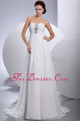 Elegant Chiffon Beading Decorate Wedding Dress Train