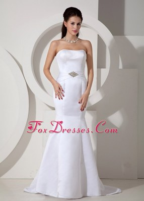Strapless Beading Mermaid Brush Train Wedding Gown