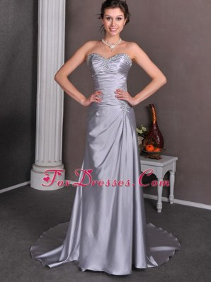 Sliver A-line Sweetheart Court Train Wedding Dress