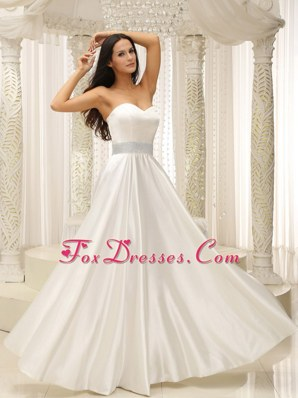 Cheap Beading Empire Wedding Bridal Dress Floor-length