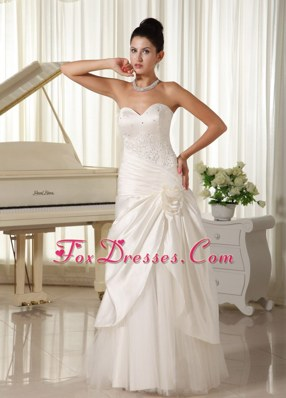 Modest Wedding Dress Beaded Bodice Hand Made Flowers