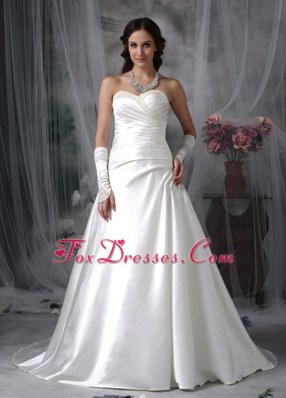 Perfect Satin Beading Wedding Dress A-line Sweetheart