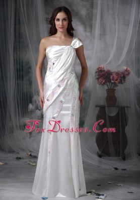 One Shoulder Floor-length Taffeta Beading Ruch Wedding Dress