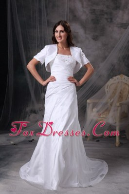 Taffeta Appliques and Ruch Wedding Dress Column Strapless