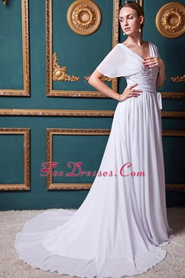 Cheap V-neck Court Train Chiffon Applliques Wedding Dress