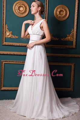 A-line V-neck Brush Train Organza Cheap Wedding Dress