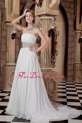 Cheap Elegant A-line Court Train Wedding Dress