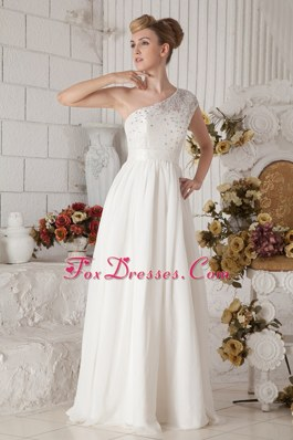 One Shoulder Floor-length Chiffon Wedding Dress