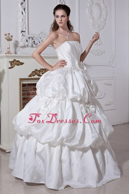 Beading Pick-ups Ruched  Wedding Gown Cheap Strapless Princess