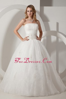 A-line Strapless Floor-length Bridal Dress with Appliques Cheap