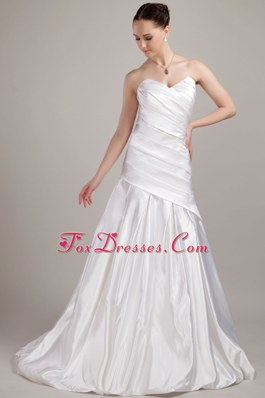 Cheap Wedding Gown Dress A-line Princess Sweetheart Taffeta