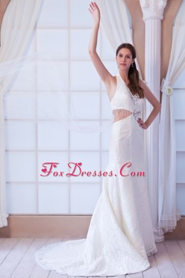 Cheap Perfect Wedding Dress A-line Halter Watteau Train Beading