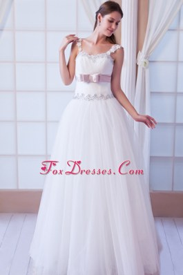 Cheap New A-line Straps Tulle Beading Belt Wedding Dress