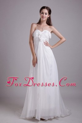 White Empire Cheap Sweetheart Brush Train Wedding Dress