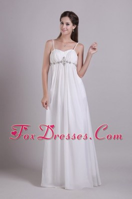Cheap White Spaghetti Straps Chiffon Beading Wedding Dress