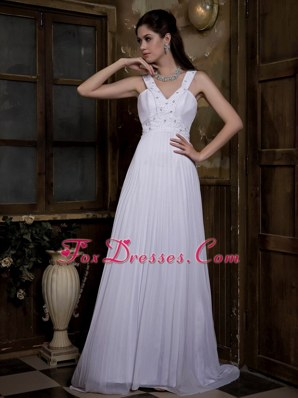 Cheap Empire V-neck Chiffon Pleat Beading Bridal Wedding Dress
