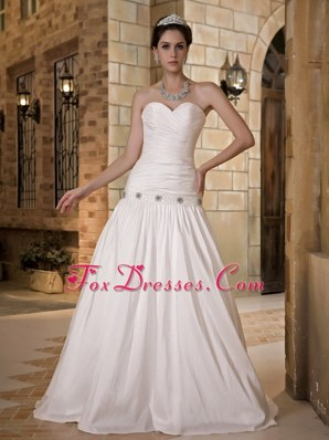 A-line Cheap Wedding Dress Sweetheart Taffeta Beading