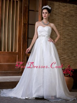 Cheap A-line Wedding Dress Sweetheart Taffeta Organza Rcuh