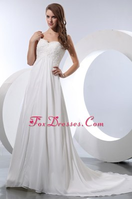 Elegant A-line Cheap Straps Wedding Dress Chiffon Appliques